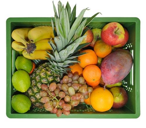Die große Obstkiste enthält z.B.: Bananen, Äpfel, Birnen, Orangen, Mango, Ananas usw.