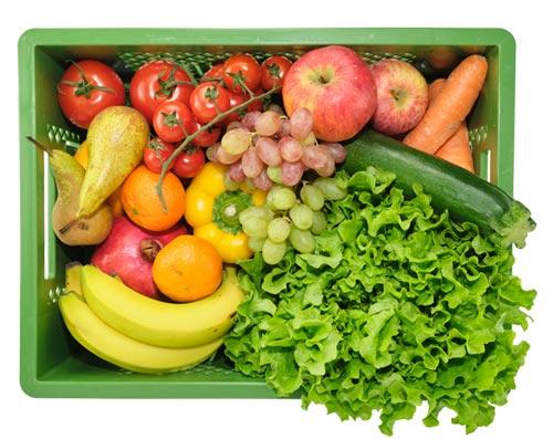 Die große Mixkiste enthält z.B.: Salat, Paprika, Karotten, Bananen, Äpfel, Birnen usw.