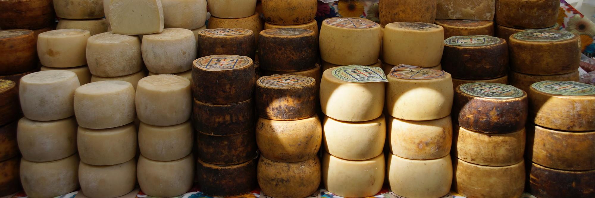 Eine Menge Käselaibe, akkurat gestapelt