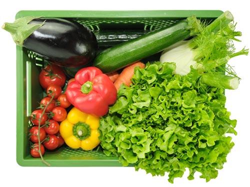 Die große Gemüsekiste enthält z.B.: Salat, Paprika, Karotten, Tomaten, Gurken, Aubergine usw.